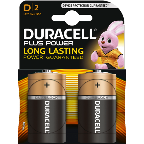 Duracell Plus Power Alkaline D 2x