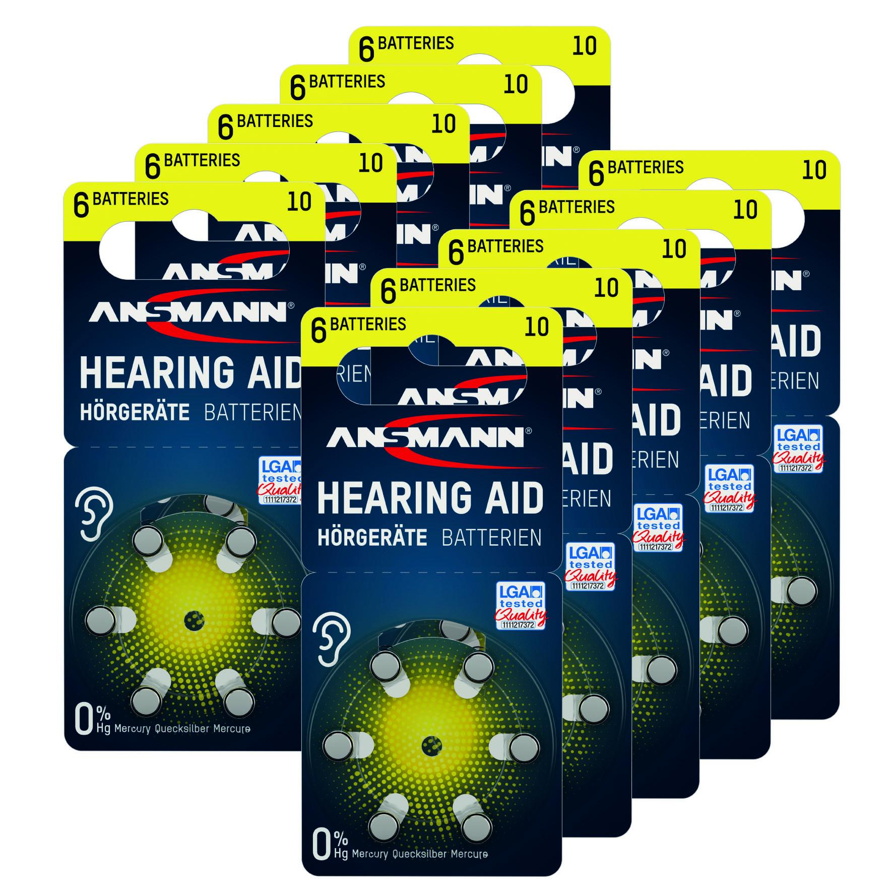 Ansmann type 10 gehoorbatterijen 60x