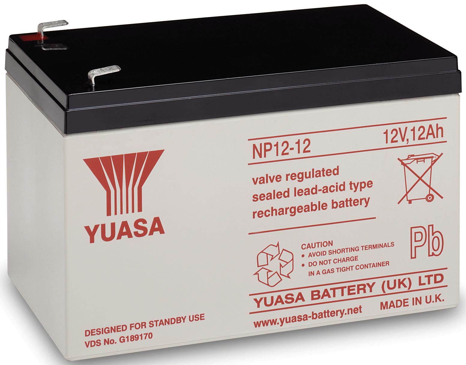 Yuasa NP12-12 Loodaccu 12 V 12 Ah Loodvlies (AGM) Kabelschoen 6.35 mm (b x h x d) 151 x 98 x 98 mm