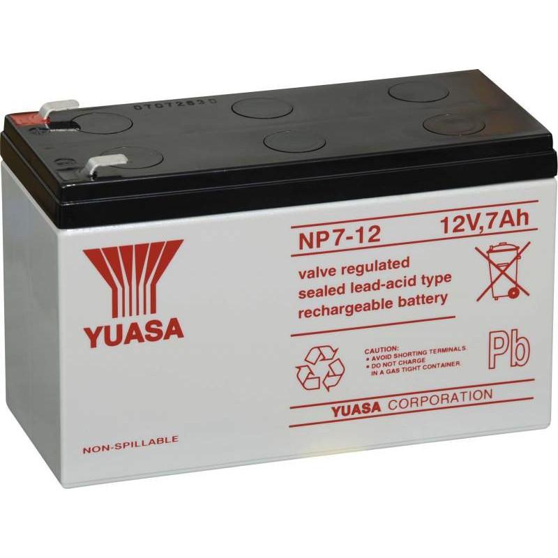 Yuasa NP7-12 L Loodaccu 12 V 7 Ah Loodvlies (AGM) Kabelschoen 6.35 mm (b x h x d) 151 x 98 x 65 mm