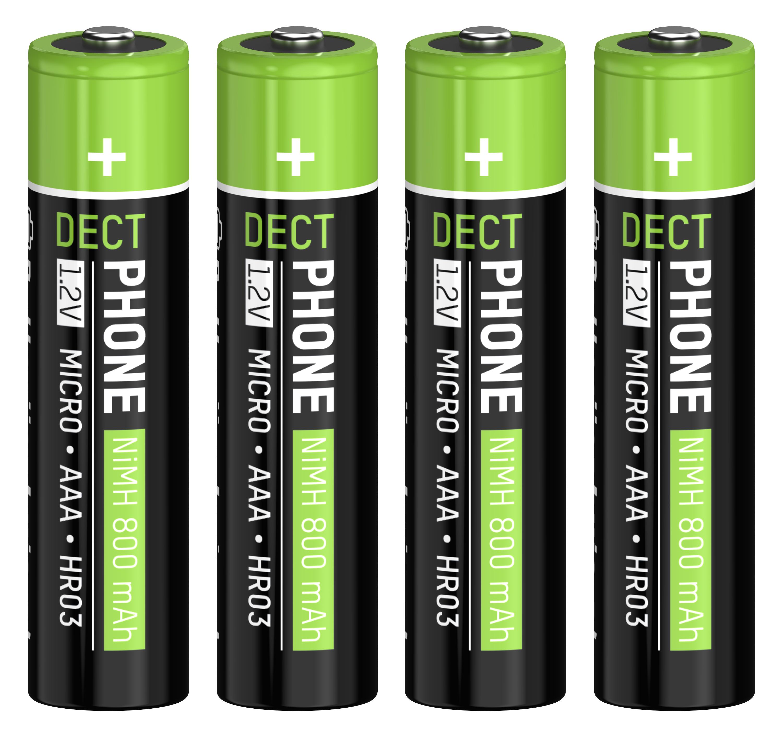 AAA Oplaadbare Batterijen 800mAh DECT 4x